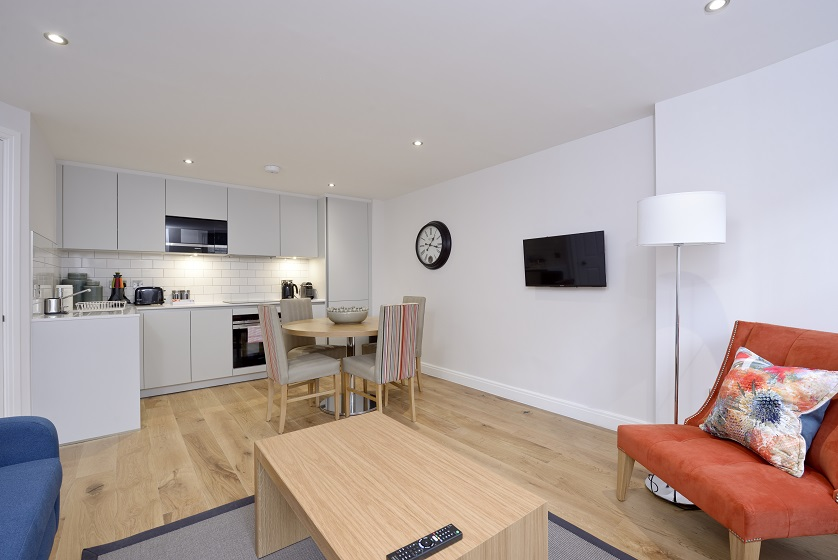 Spacious living area at New Town Serviced Apartments
