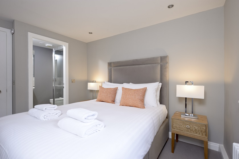 Double bed at New Town Serviced Apartments
