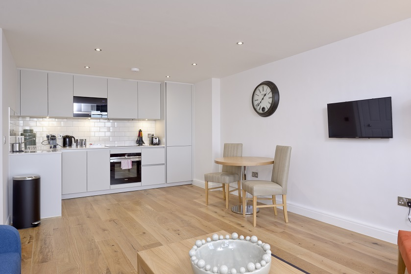 Sleek kitchen at New Town Serviced Apartments