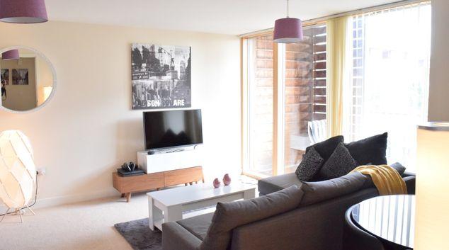 Living room at Dazzon Apartments