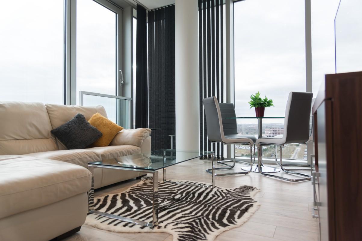 Stylish living area at Dazzon Apartments
