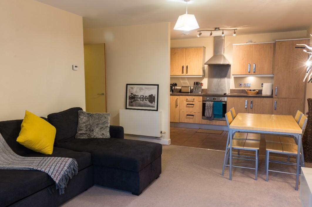 Open-plan kitchen at Dazzon Apartments