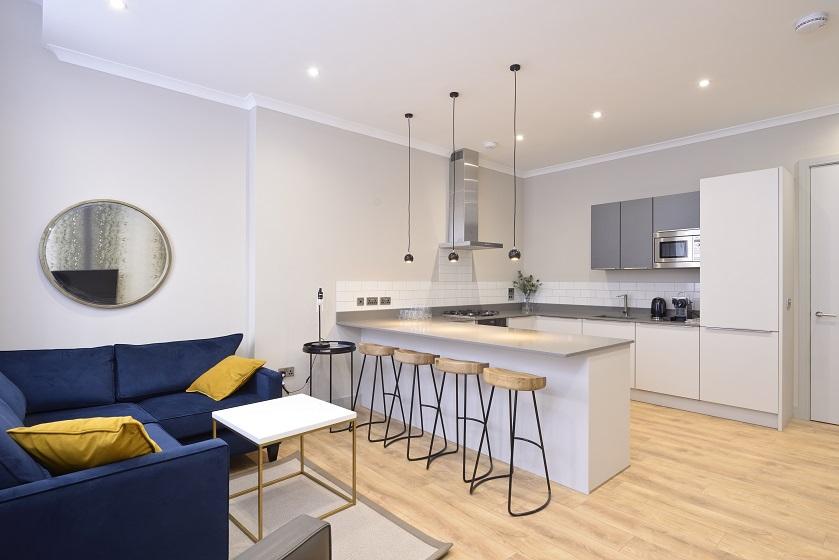 Modern kitchen at Charlotte Square Apartments