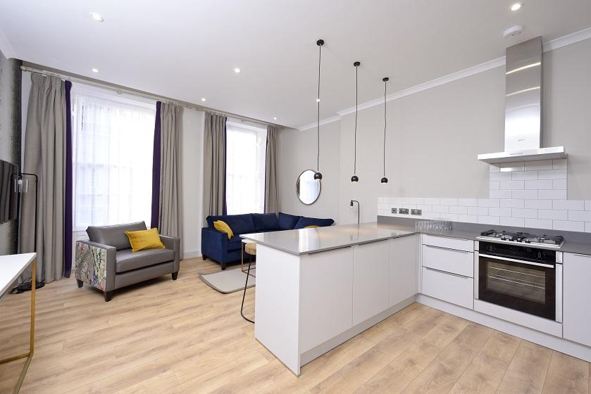 Kitchen facilities at Charlotte Square Apartments