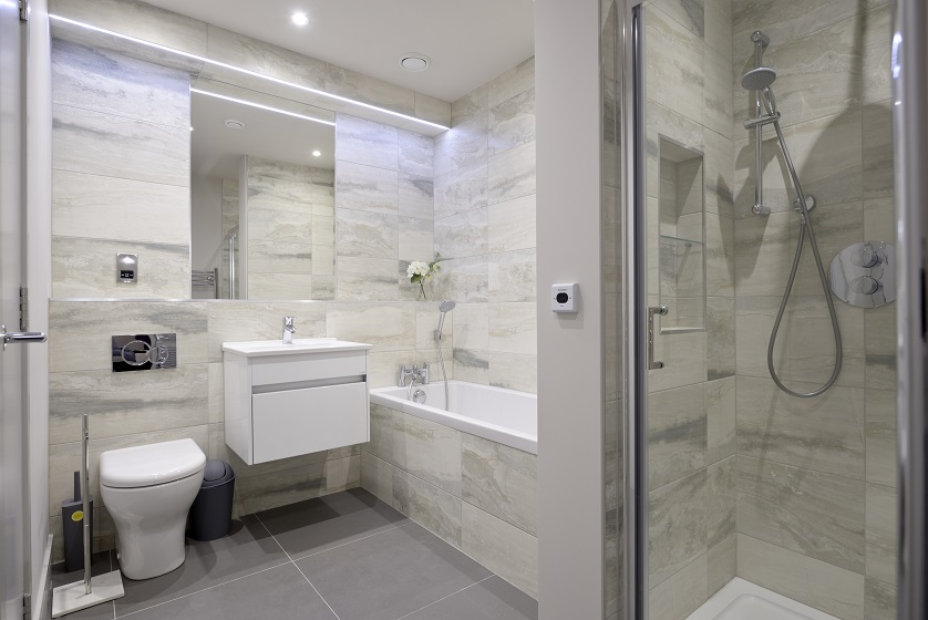 Shower at Charlotte Square Apartments
