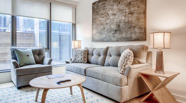 Living room at One Hill South Apartments, Navy Yard, Washington DC