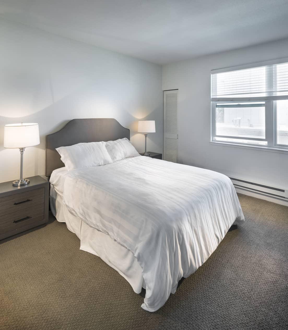 Bedroom at 2000 Post Apartments