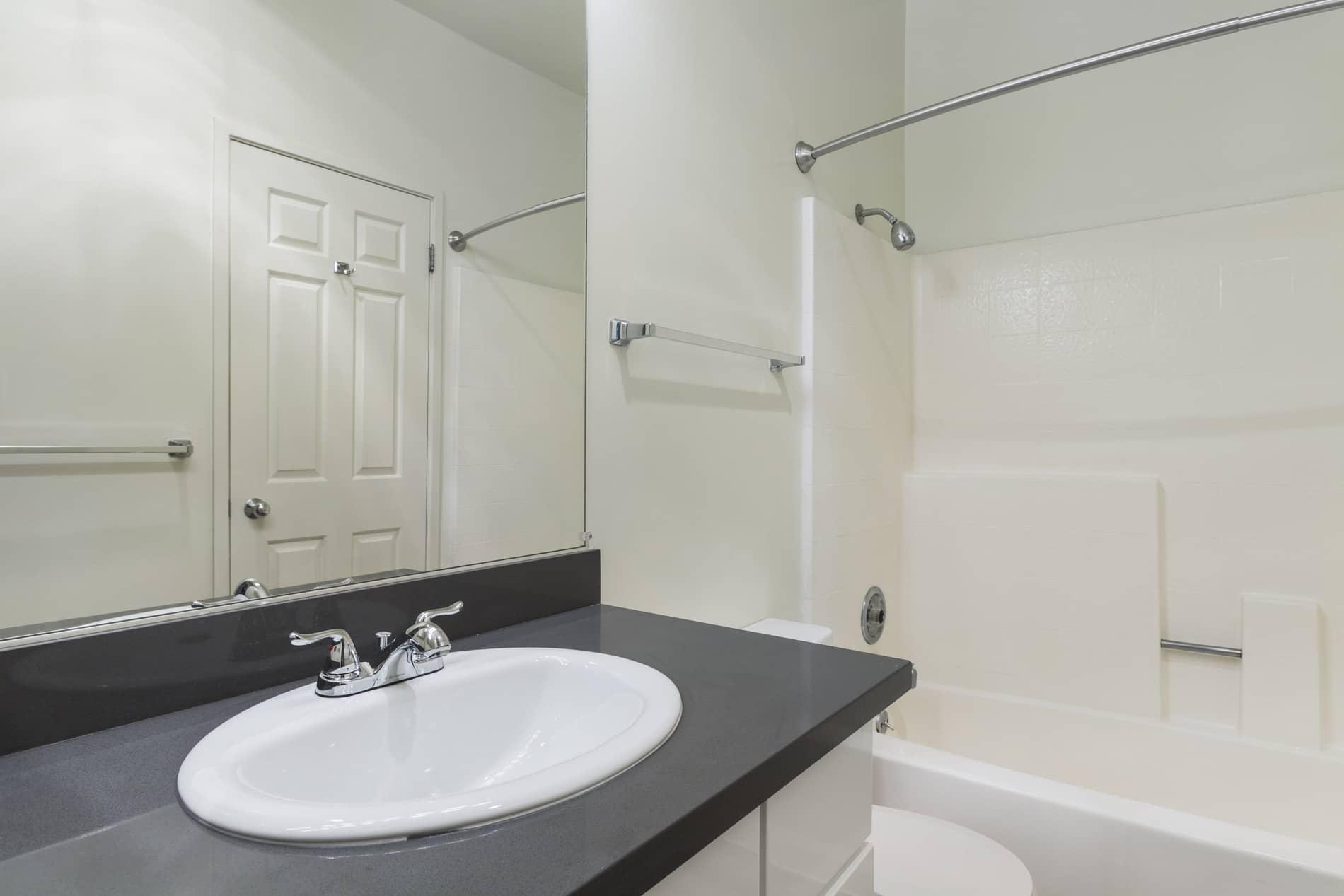 Bathroom at 2000 Post Apartments