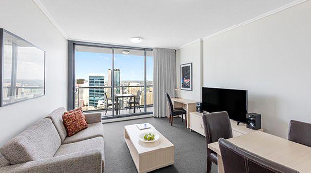 Living room at the Oaks Brisbane Charlotte Suites