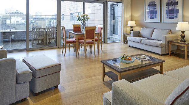 Living area at Aldgate Tower Bridge Apartments, Aldgate, London