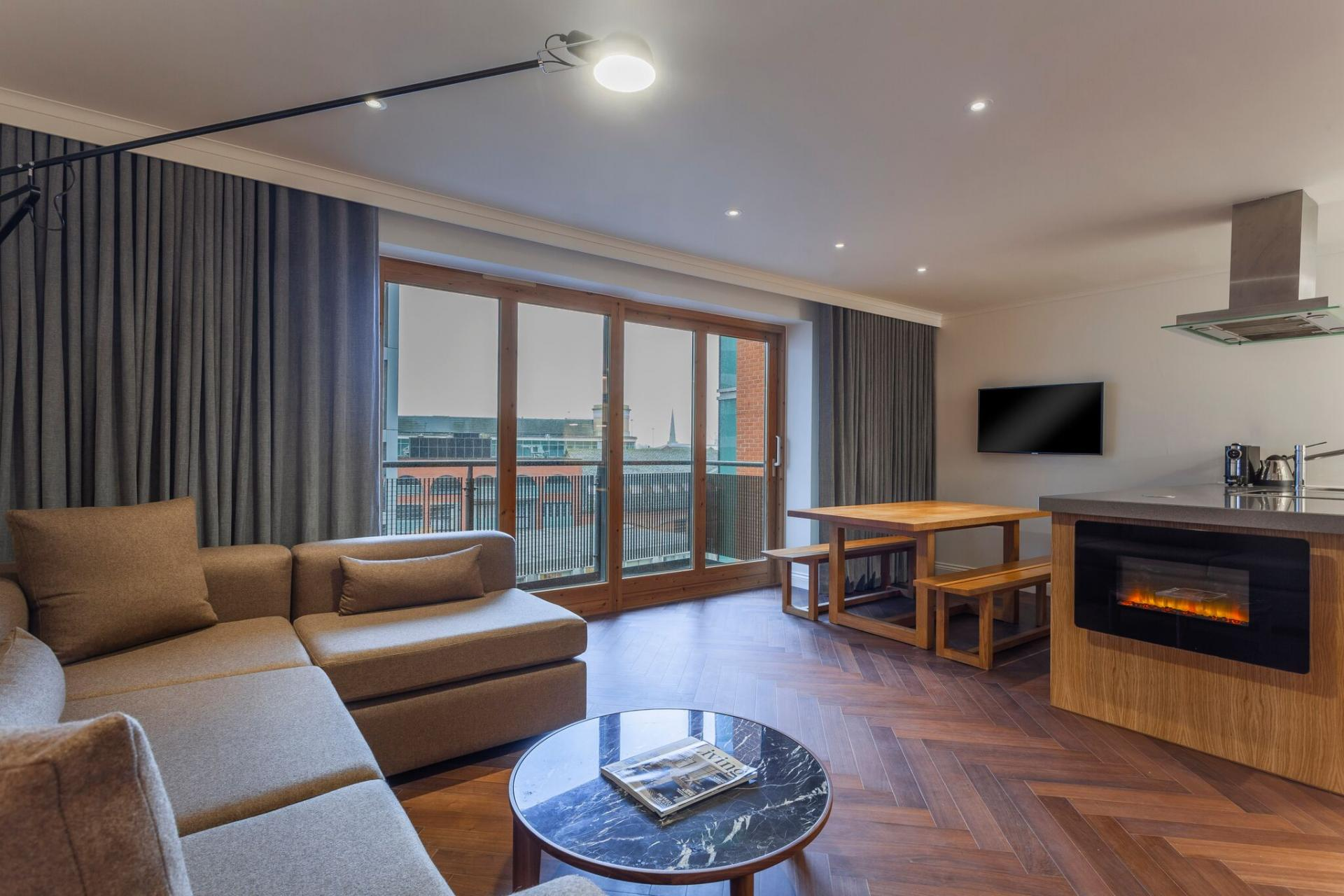 Open plan living area at The Roseate Reading Apartments