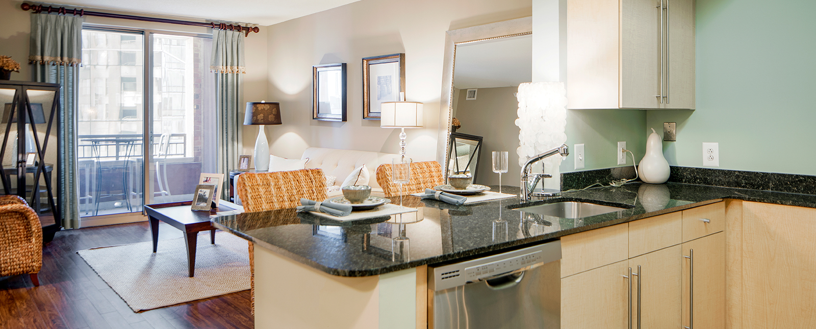 Open-plan kitchen at Spinnaker Bay Serviced Apartments