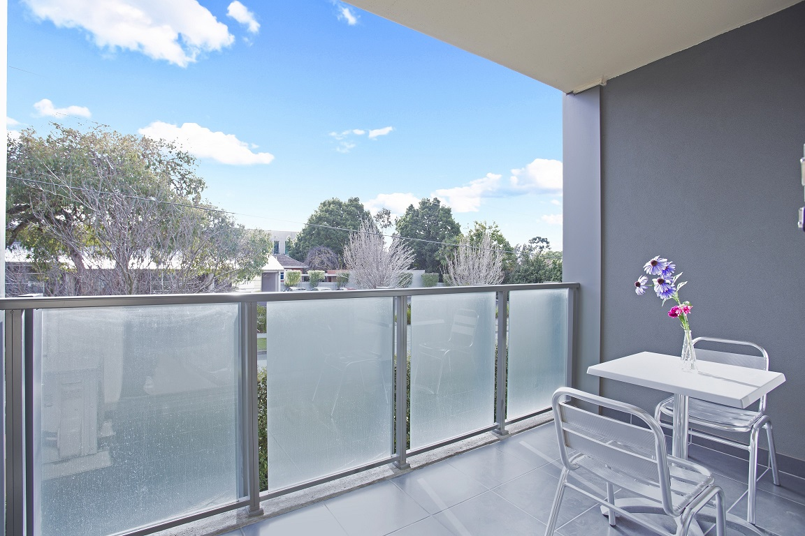 Spacious balcony at Glen Waverley Apartments