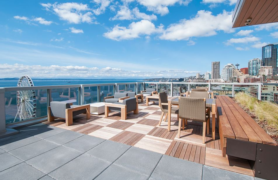 Roof deck at Cyrene Apartments