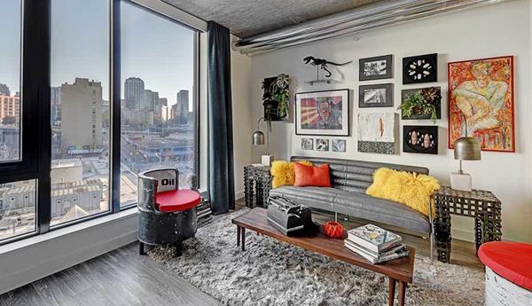Living room at AMLI Arc Corporate Housing