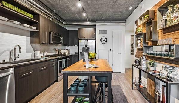 Kitchen at AMLI Arc Corporate Housing