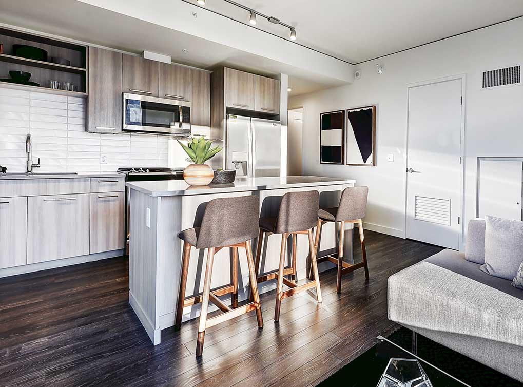 Open Floor Plan Kitchen at AMLI Arc Corporate Housing