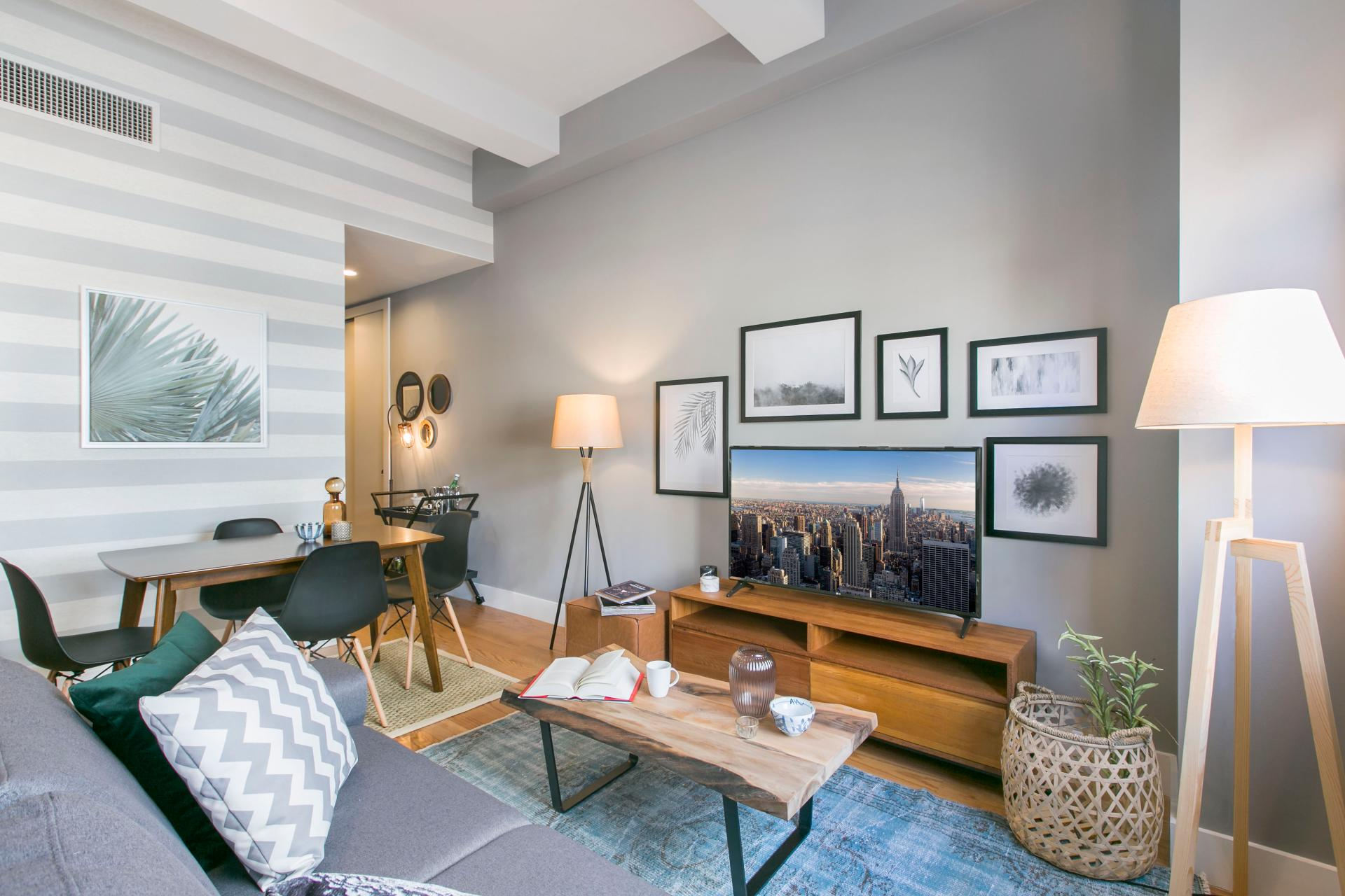 Modern living area at West Broadway Apartment