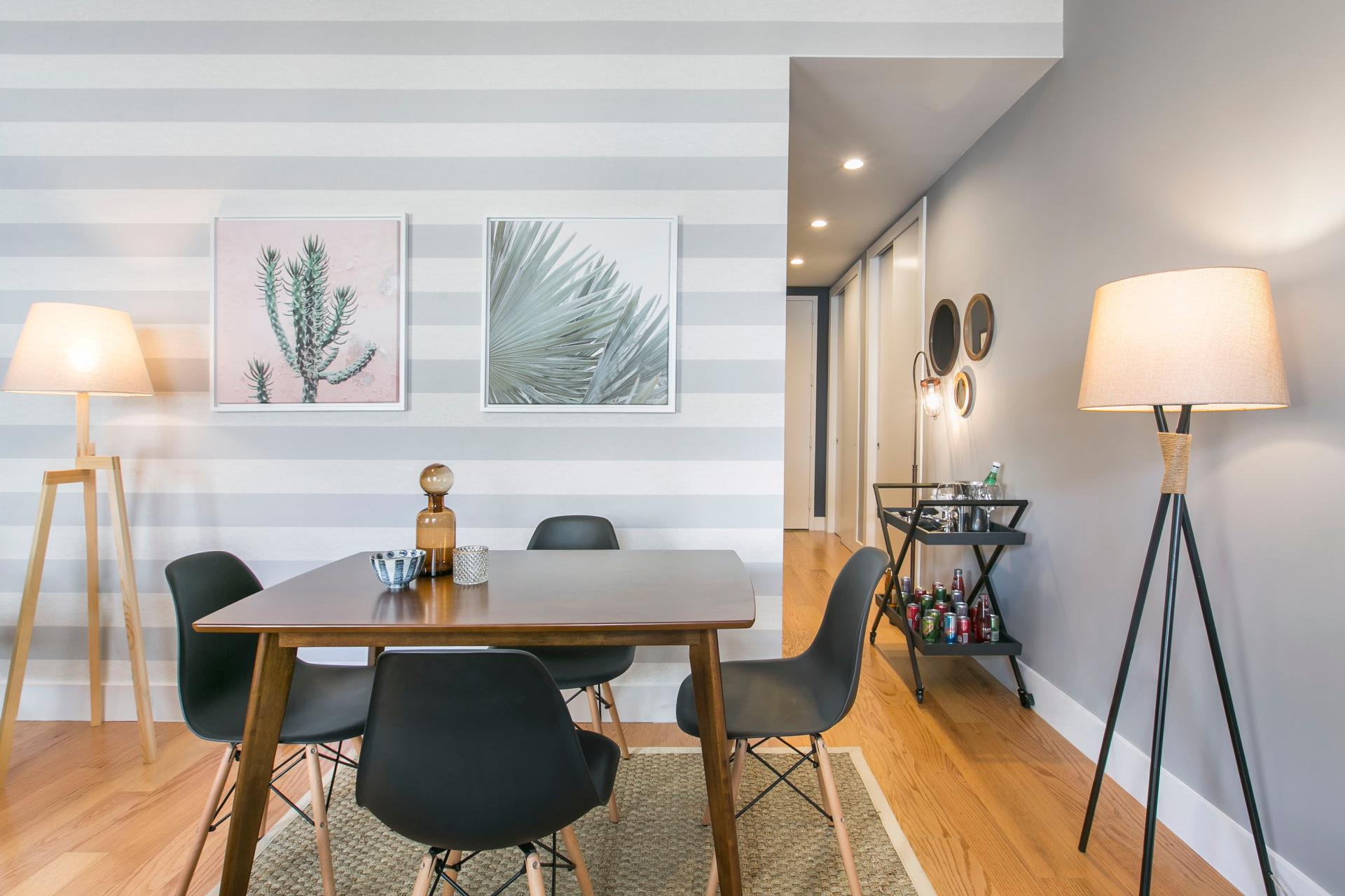 Dining table at West Broadway Apartment