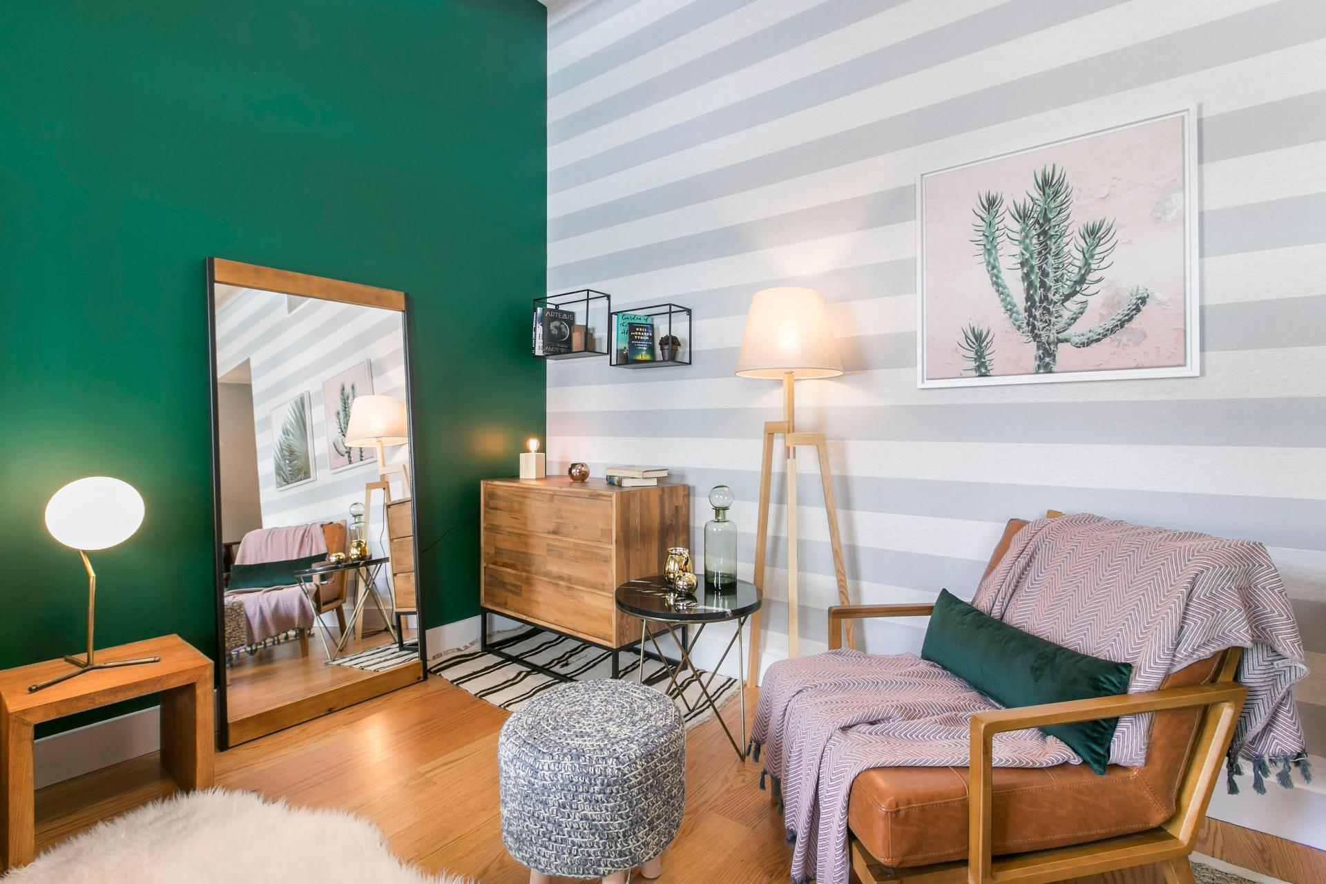 Stylish lounge area at West Broadway Apartment