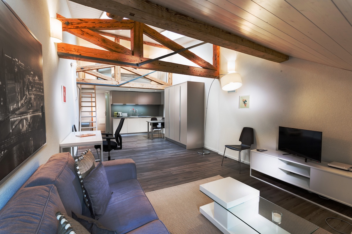 Living room at Grand Rue Apartments