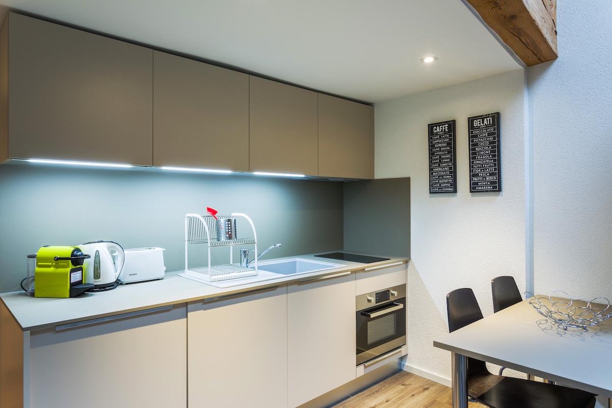 Kitchen at Grand Rue Apartments