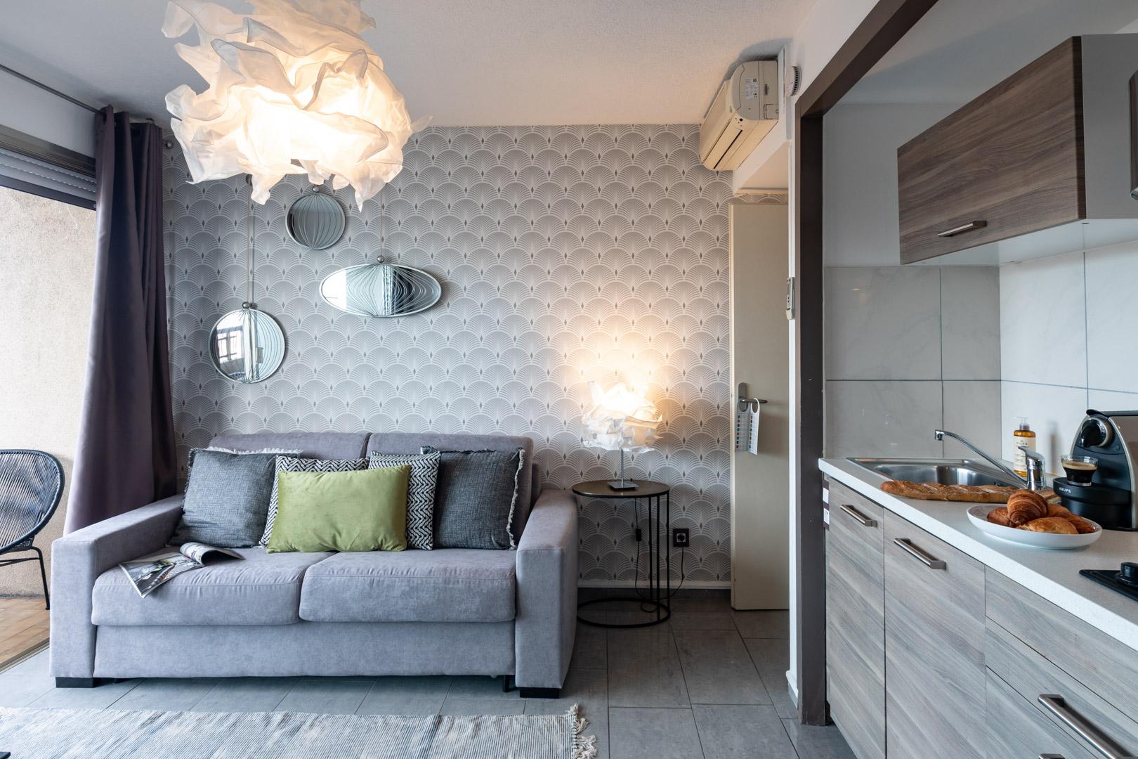 Sofa at Avenue Alexandre Apartments, Juan-les-Pins, Antibes