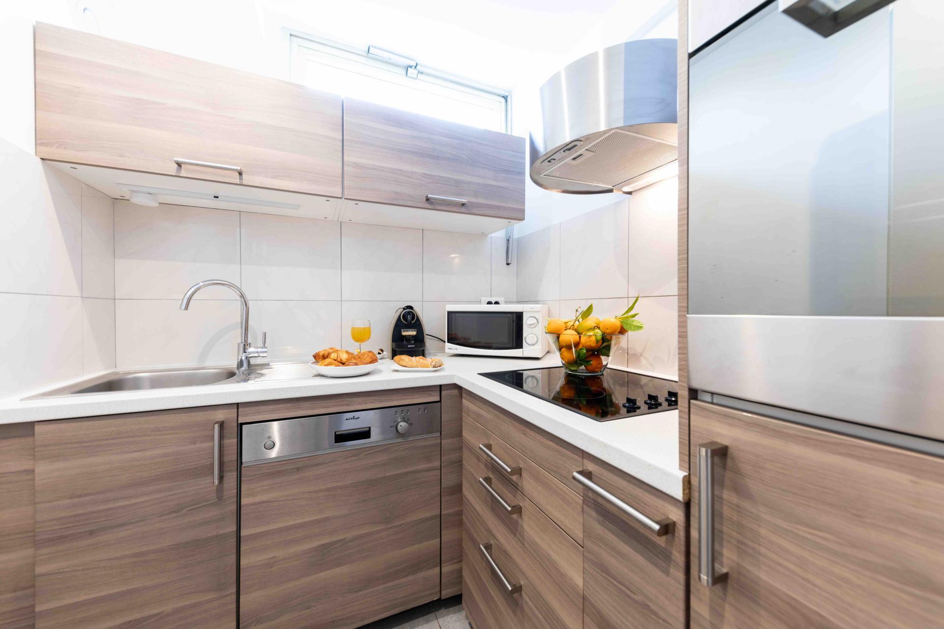 Kitchen at Avenue Alexandre Apartments, Juan-les-Pins, Antibes