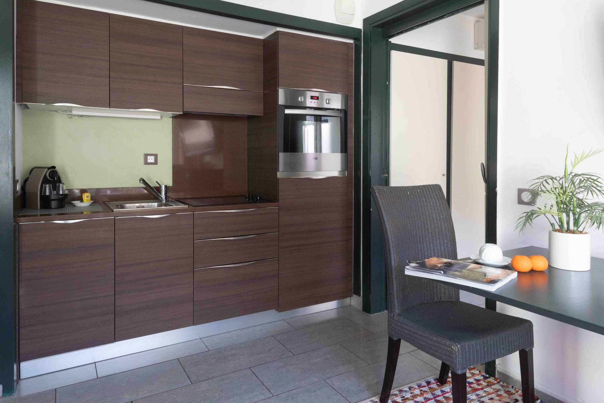 Kitchen area at Avenue Alexandre Apartments, Juan-les-Pins, Antibes