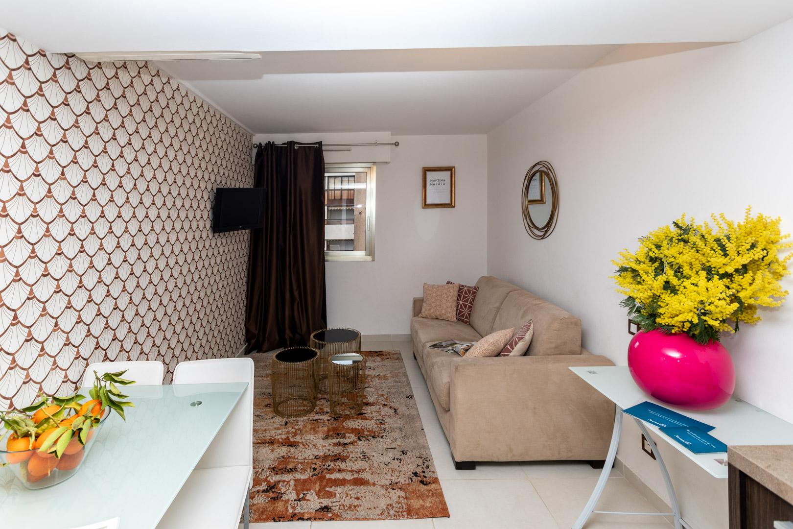 Spacious lounge at Avenue Alexandre Apartments, Juan-les-Pins, Antibes