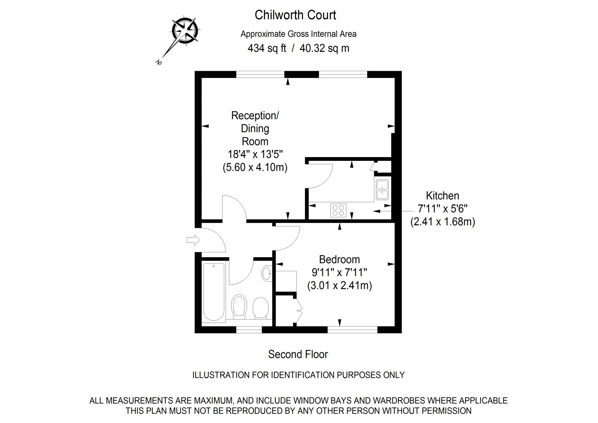 1 bed floor plan of Chilworth Court Serviced Apartments, Paddington, London