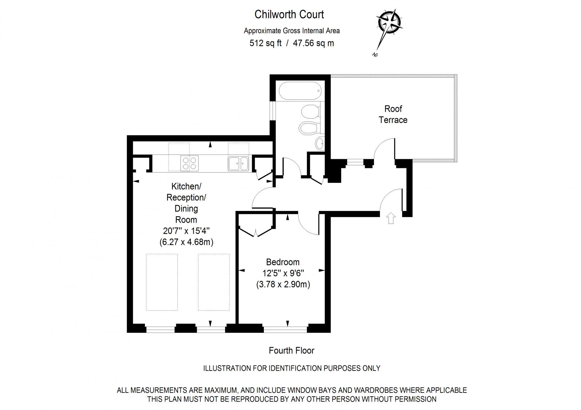 Superior 1 bed floor plan of Chilworth Court Serviced Apartments, Paddington, London