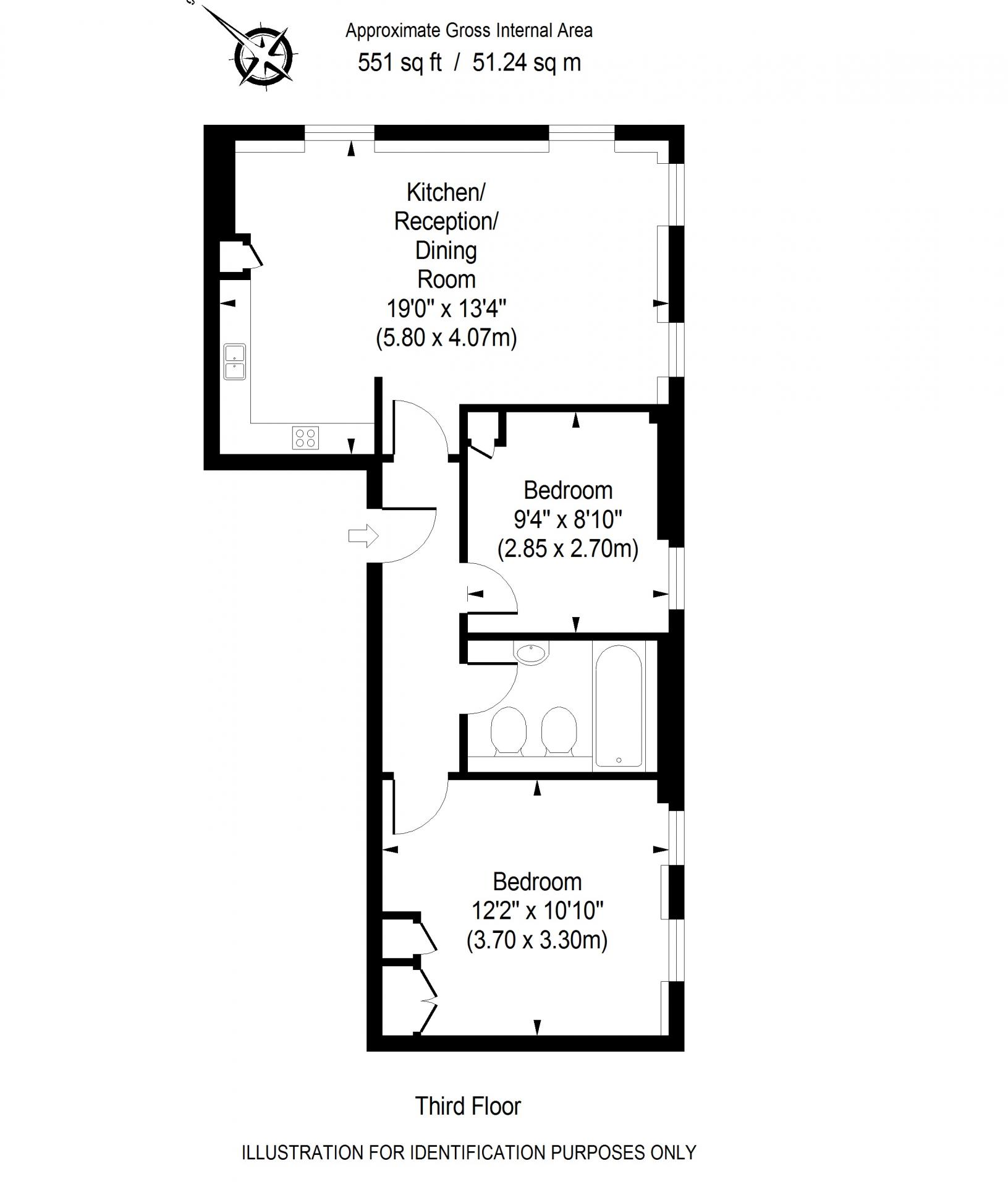 2 bed floor plan of Chilworth Court Serviced Apartments, Paddington, London