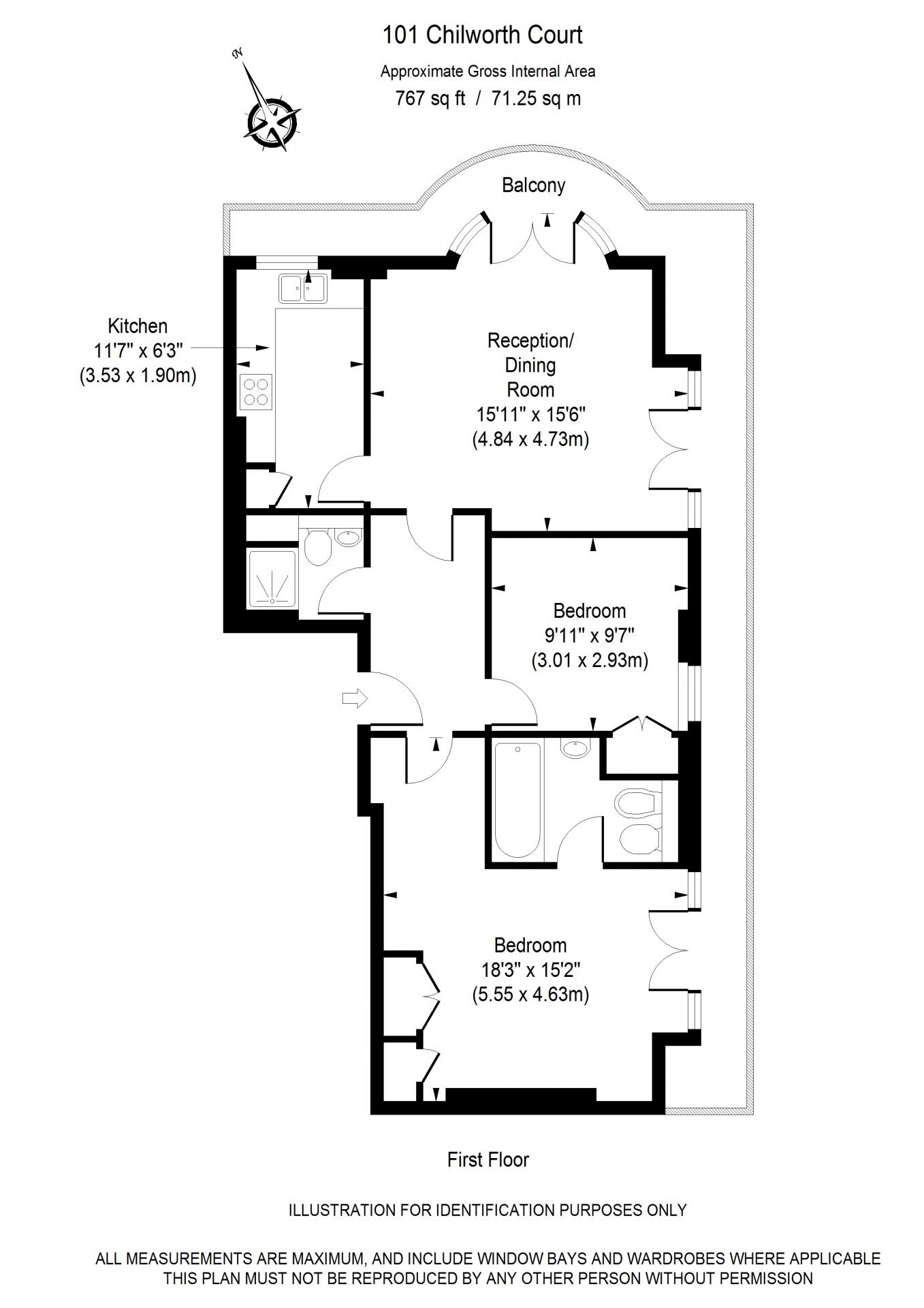 Deluxe two bed floor plan of Chilworth Court Serviced Apartments, Paddington, London