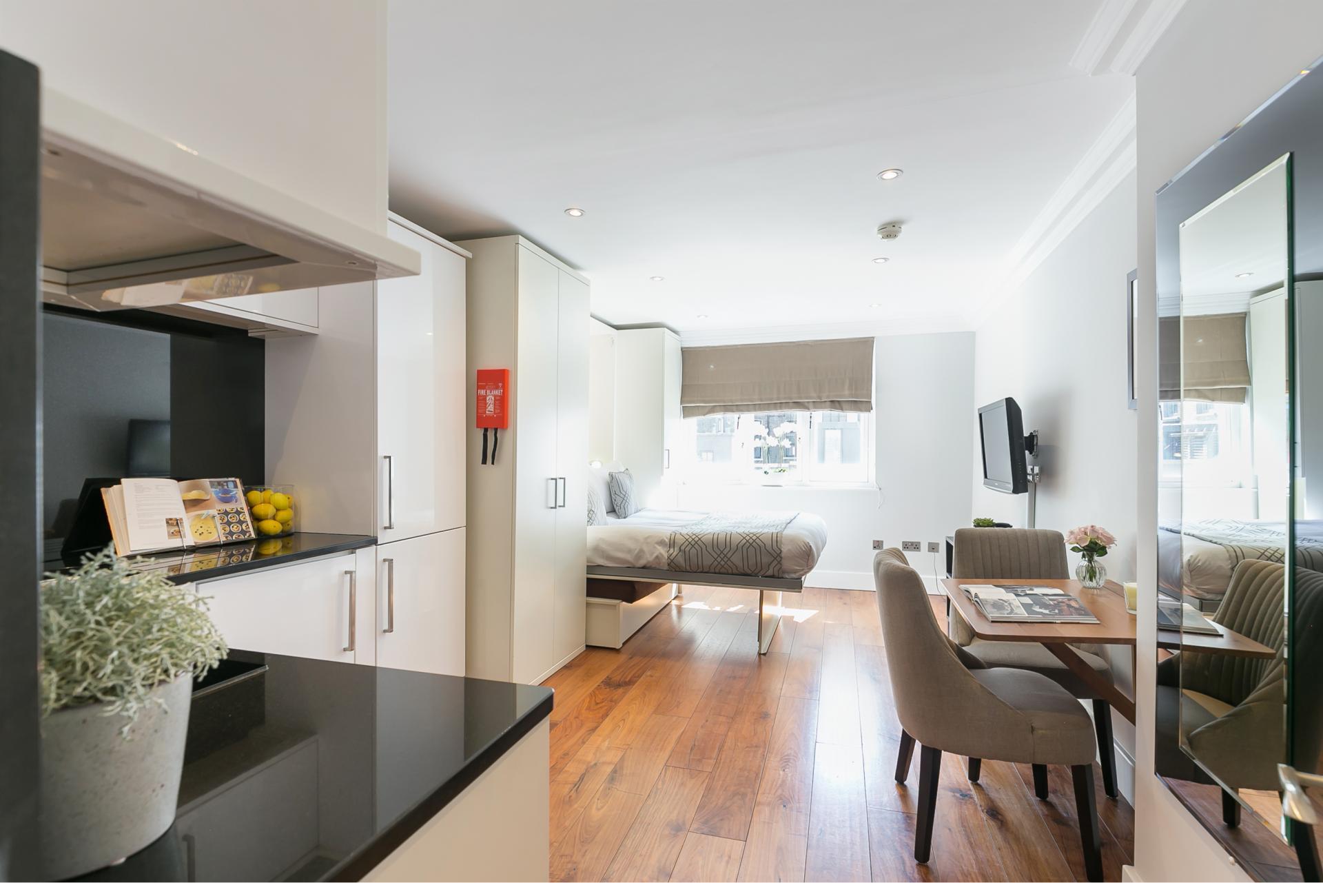 Studio overview at Chilworth Court Serviced Apartments, Paddington, London