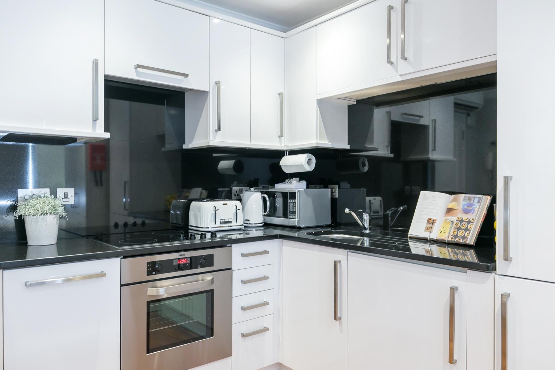 Kitchen at Chilworth Court Serviced Apartments, Paddington, London