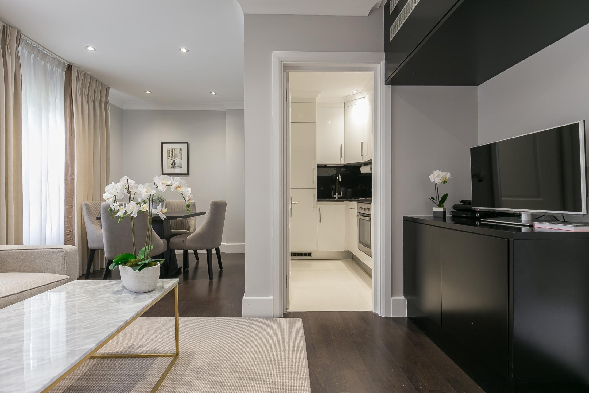 Black cabinets at Chilworth Court Serviced Apartments, Paddington, London