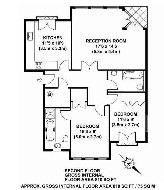 Floor plan 1 at Richmond Bridge Apartments, Richmond, London