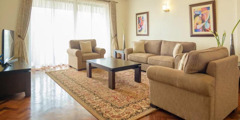 Living room at Riverside Apartments, Centre, Nairobi