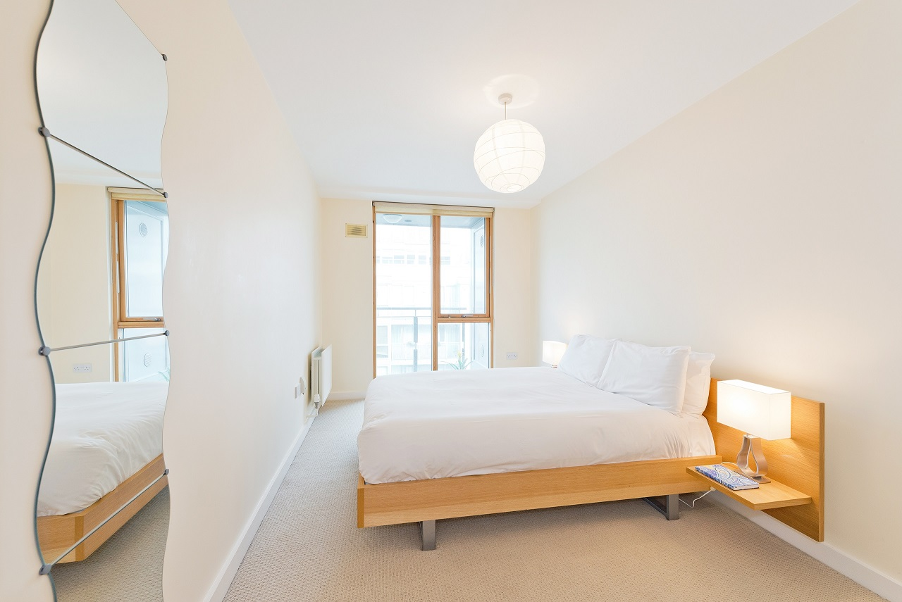 Bright bedroom at The Gasworks Adoor Apartments