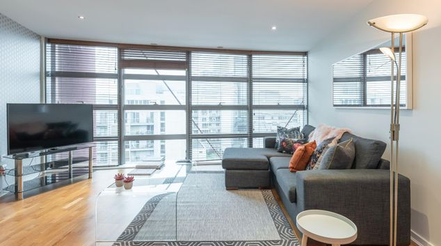 Living room at The Gasworks Adoor Apartments, Grand Canal Dock, Dublin