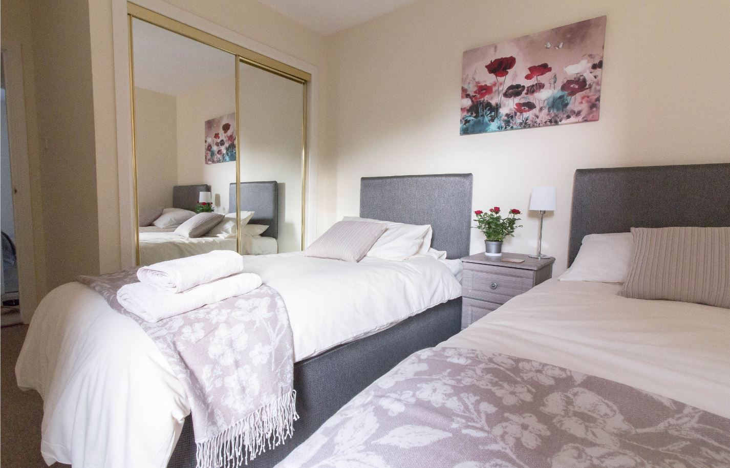 Bright bedroom at South Groathill Serviced Apartment