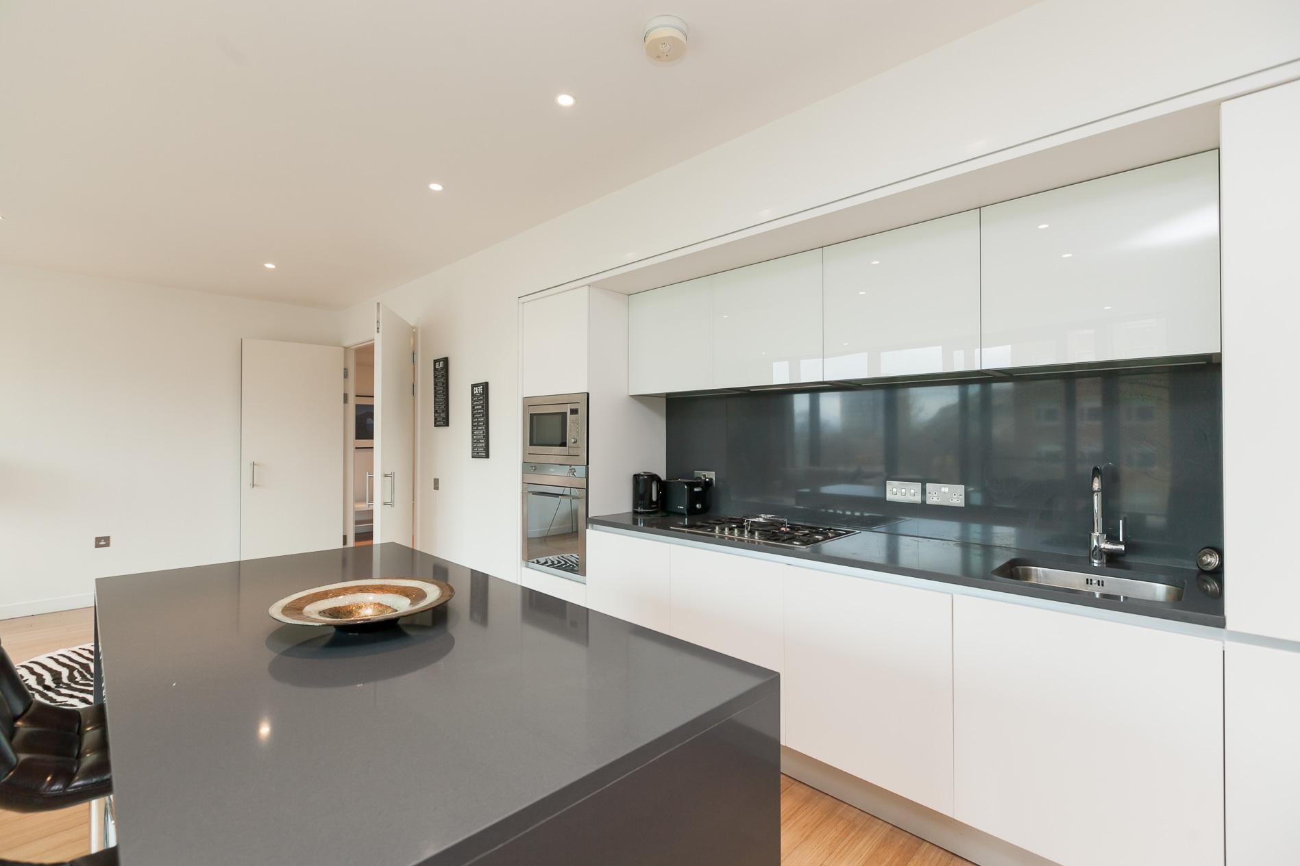Sleek kitchen at Simpson Loan Apartments