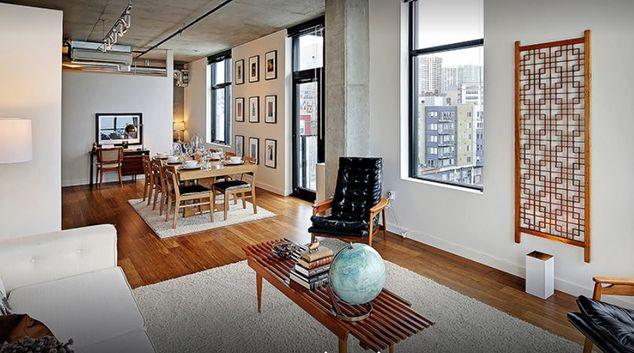 Living room at Walton Lofts Apartments