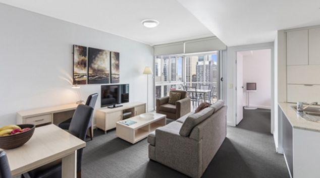 Living room at Oaks Brisbane Festival Suites