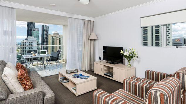 Living area at Oaks Brisbane Lexicon Suites