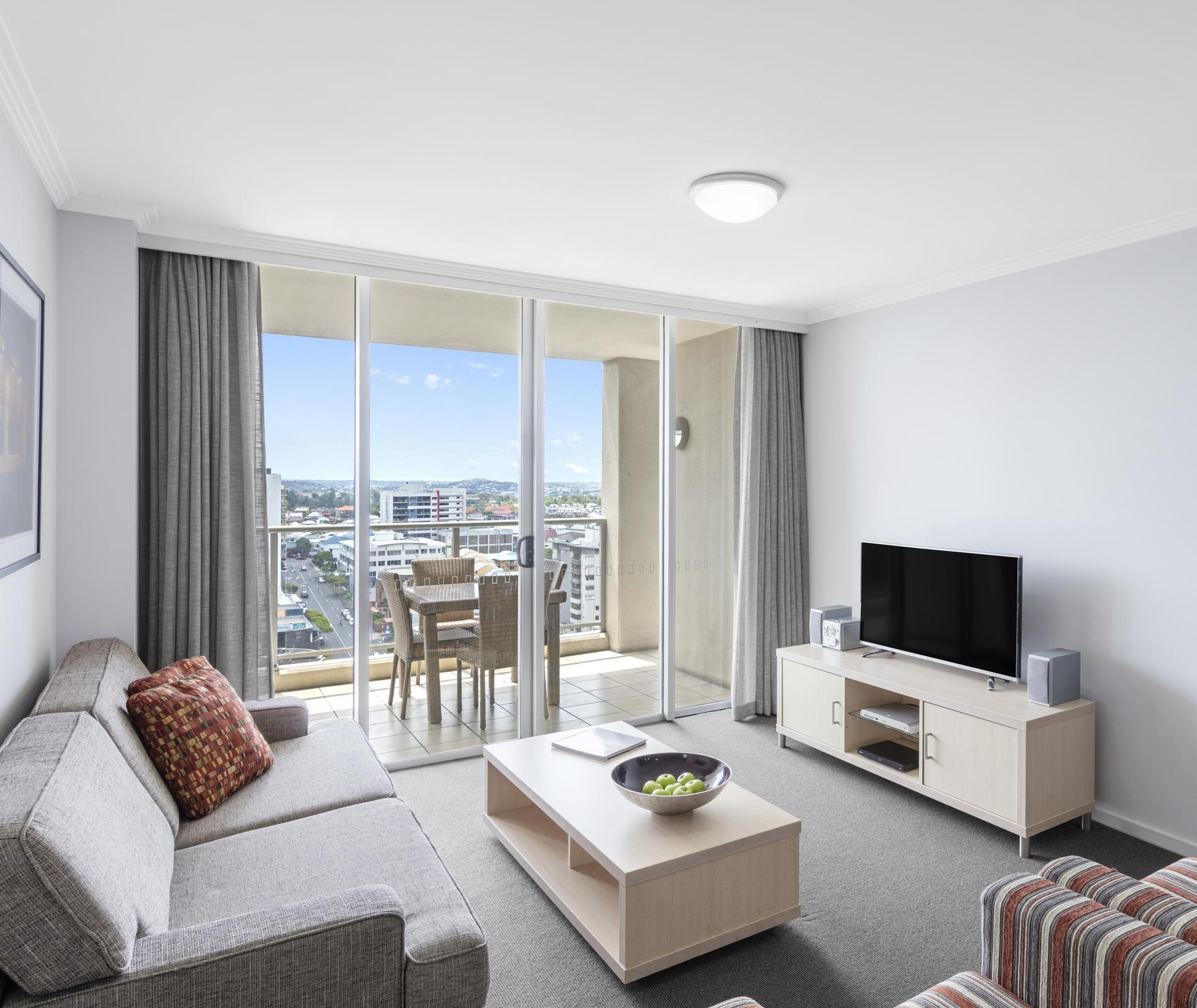 Bright living space at Oaks Brisbane Lexicon Suites