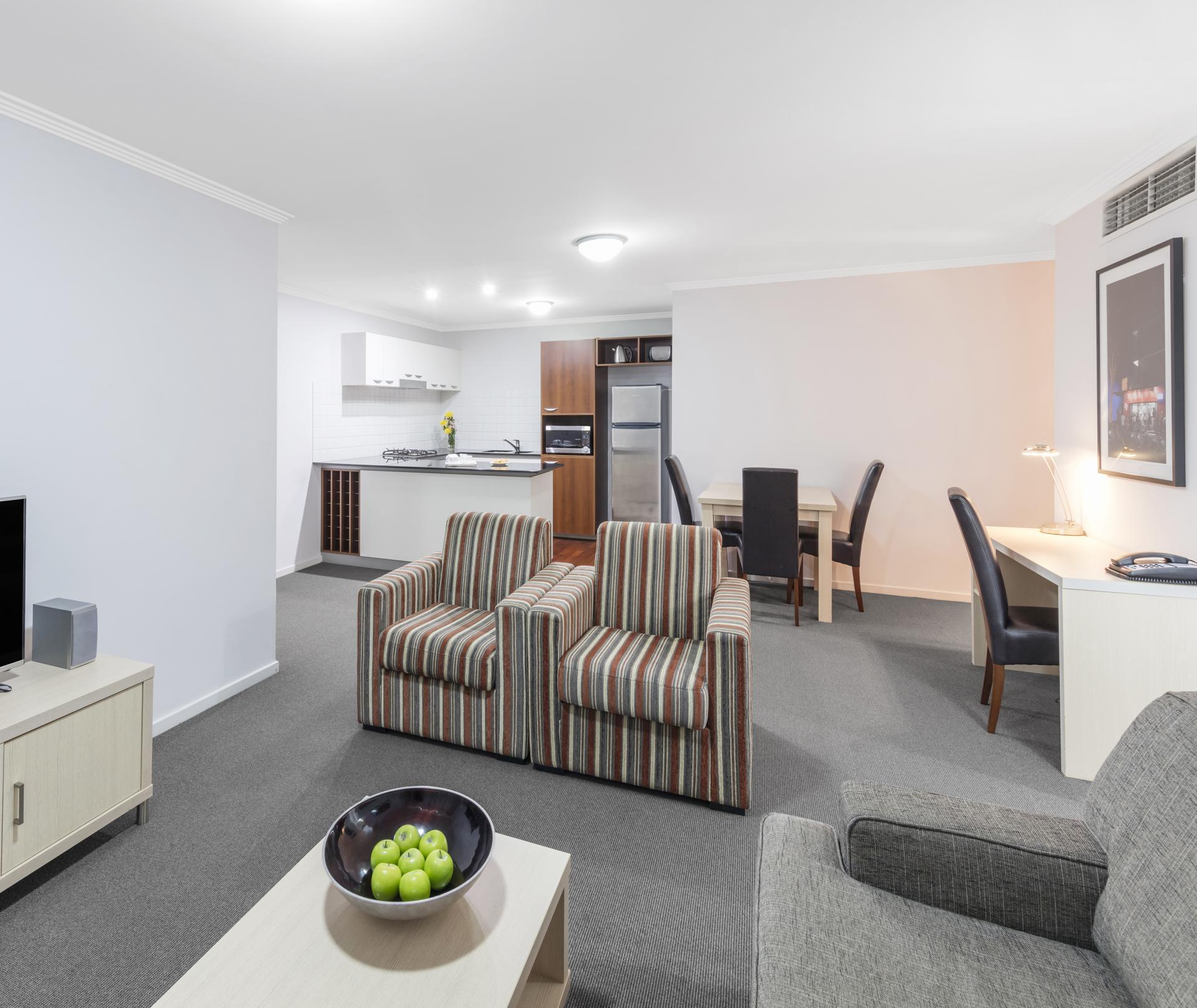 Open-plan layout at Oaks Brisbane Lexicon Suites