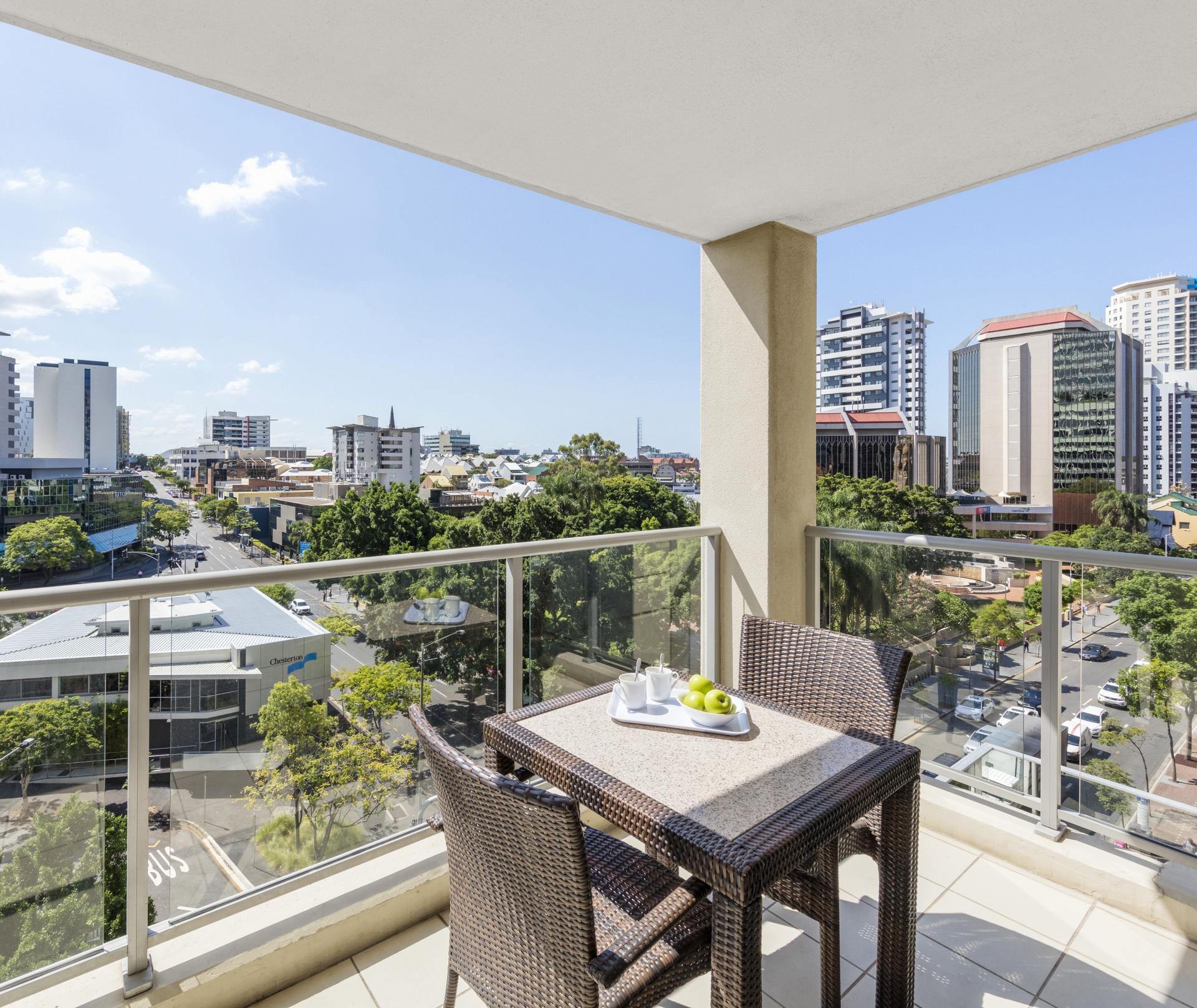 Balcony view at Oaks Brisbane Lexicon Suites