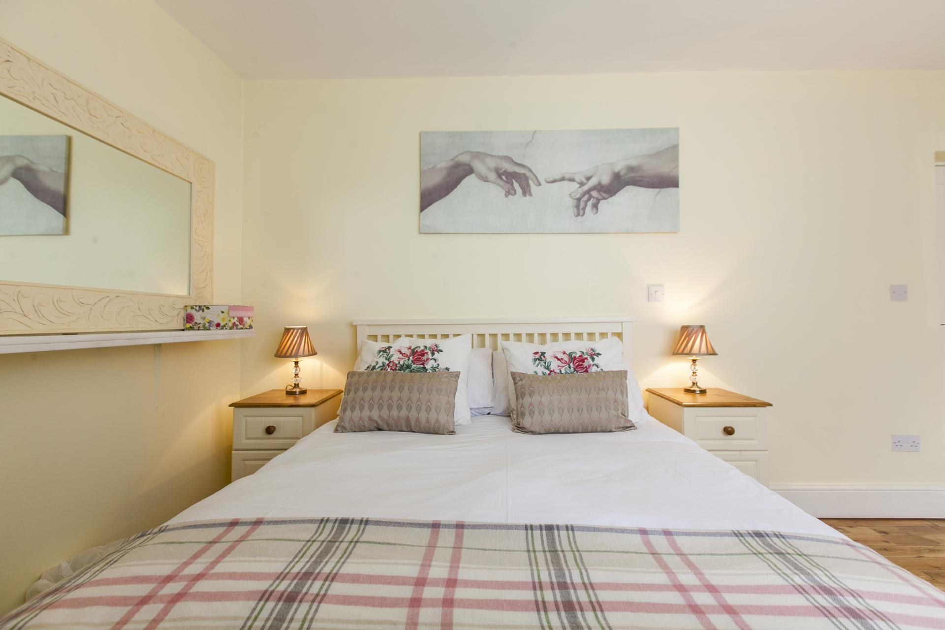 Stylish bedroom at Tyrconnell Road Apartments